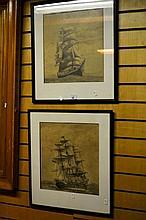 R. Wilkinson pair of pencil drawings each of a