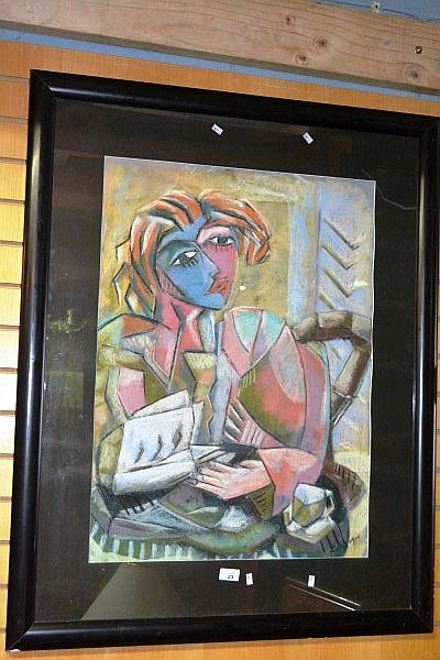 G Borough pastel, portrait of a woman, signed 74 x