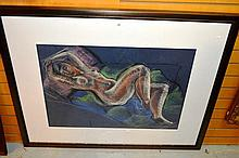 Large pastel portrait of a reclining nude,