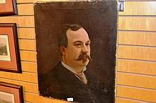 Artist unknown oil on canvas, antique portrait of