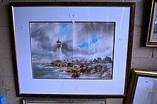 James Kilni?, watercolour, a lighthouse on a