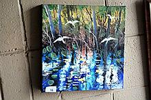 Colleen Parker oil on canvas, billabong scene with