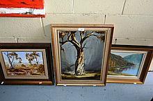 3 various Australian school oil paintings, outback
