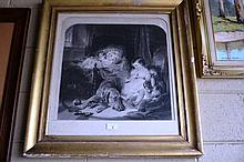 Antique Victorian steel engraving, young children