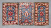 3 small Afghan Kazak, pure wool, hand made rugs,