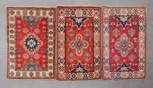 3 small Afghan Kazak, pure wool, hand made rugs