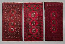 3 small Afghan Turkmen pure wool, hand made rugs,