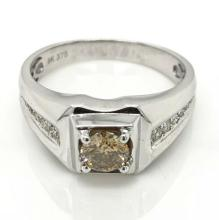 9ct White Gold Diamond gents ring
