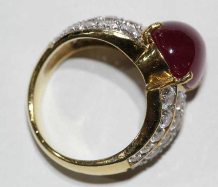 Yellow Gold Ring With Ruby Diamonds Size L Australia