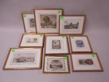 8 Framed Color Engravings Balloons
