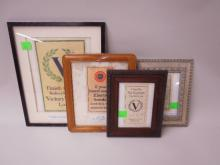 4 Framed Liberty loan / bond pieces
