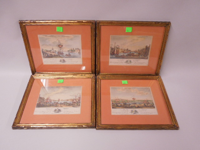 4 Framed French color engravings