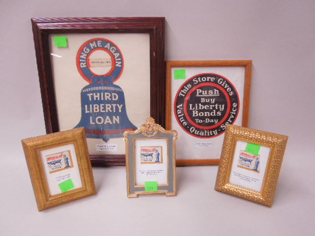5 Framed Liberty Bond / Loan pieces
