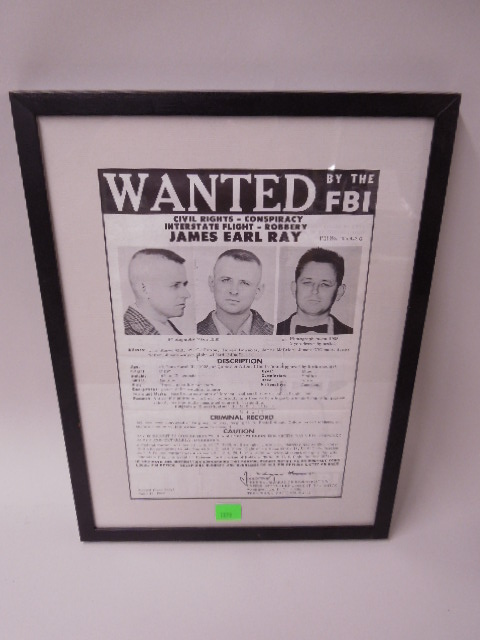 Framed James Earl Ray Wanted Poster