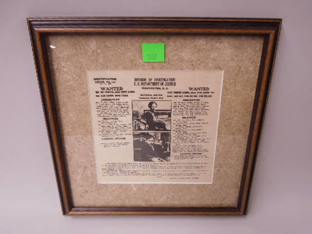 Framed Bonnie & Clyde Wanted Poster Dot