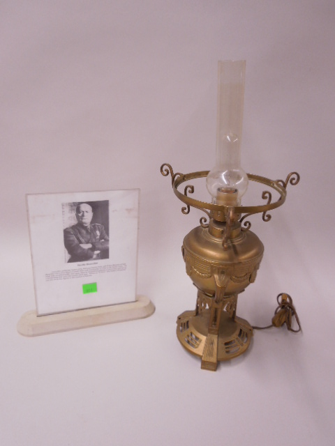Mussolini Electrofied Brass Oil Lamp