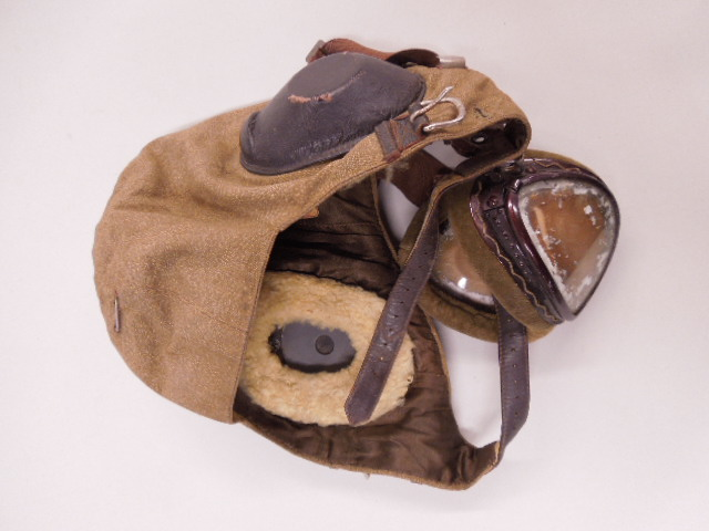 WW II German Luftwaffe Headgear w/Goggles