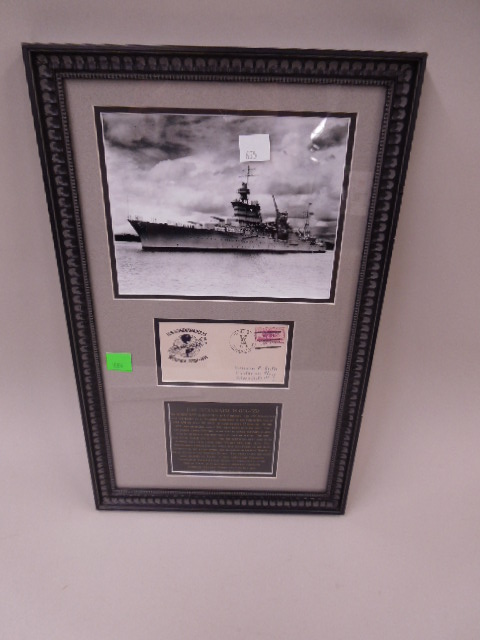 Framed U.S.s. Indianapolis Photo & Cover