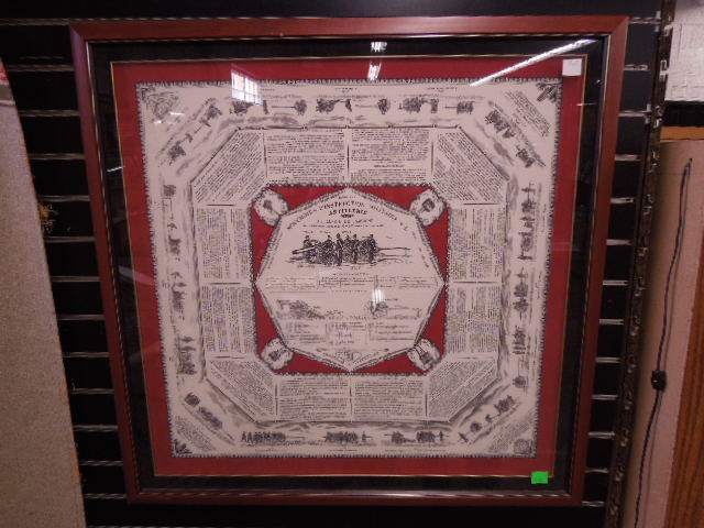 Framed WW I Military Handkerchief