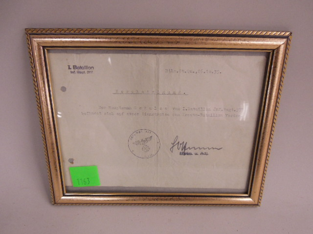 WW II German Officer Replacement Letter