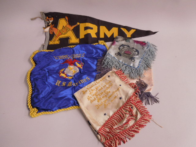 4 Military Pillow Covers & Pennant