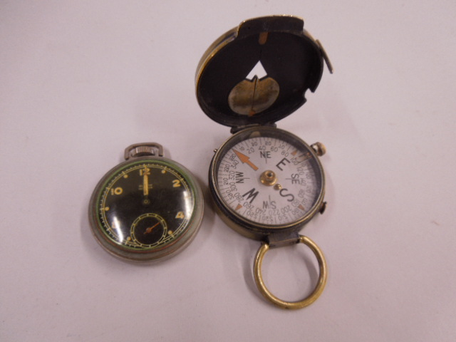Military Compass & Pocket Watch