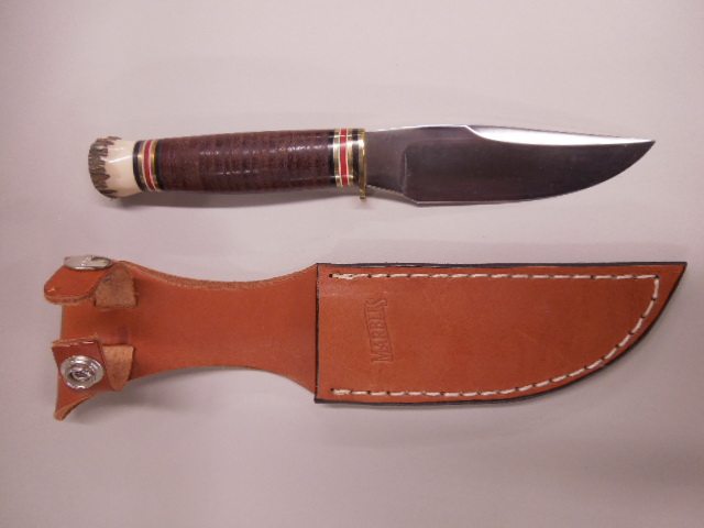 Leather & Stag Handle Hunting Knife