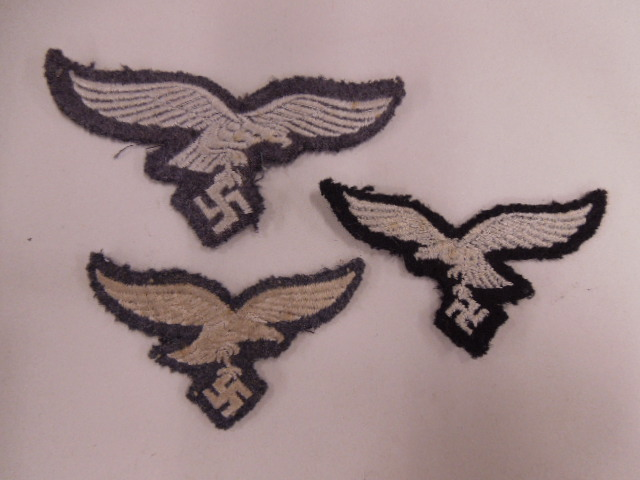 3 German Nazi Luftwafe Tunic Eagle Patches