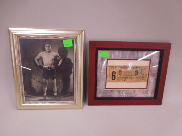 Joe Louis Signed Photo & Repro Boxing Match Ticket