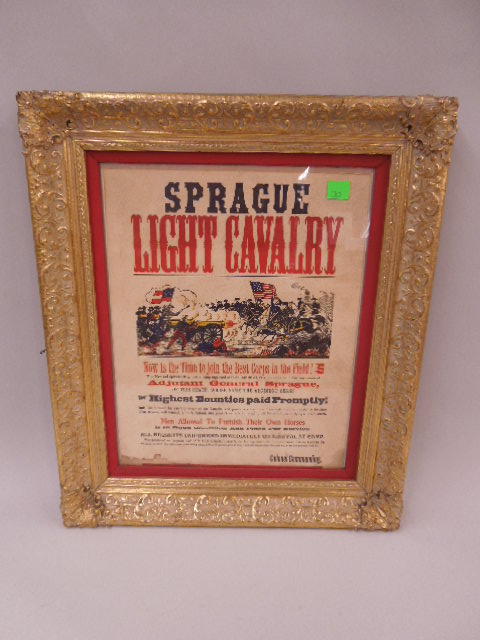 Framed Sprague Cavalry Enlistment Poster