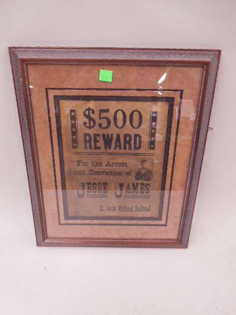 Reproduction Jesse James Reward Poster
