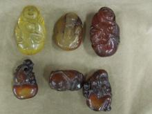 6 Carved Honey Wax Pendants
