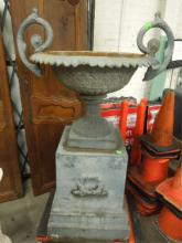 Large Cast Iron urn Form Planter on Pedestal