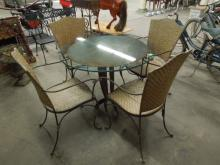 5 Pc Patio Set, Cut Steel & Glass