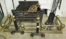 Brass & Wrought Iron Fireplace Set