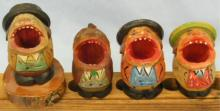 (4) Carved Wood Open Mouth Figures