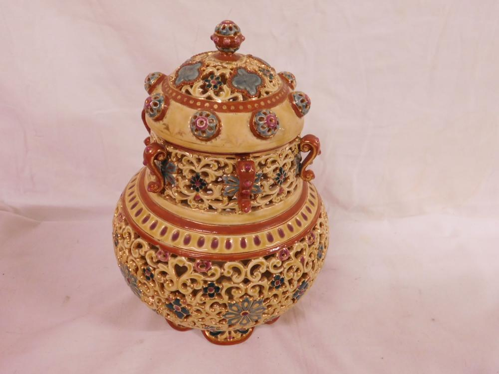 Scarce Zsolnay Covered Cache Pot