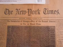 NY Times 1871 Newspaper Chicago Fire