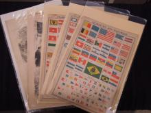 (5) 19th C. Newspaper Pages (Flals of World)