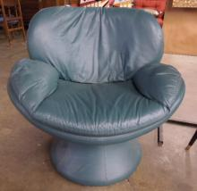 Modern Style Green Leather Arm Chair