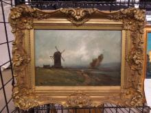 Indistinctly Signed Dutch Oil Painting