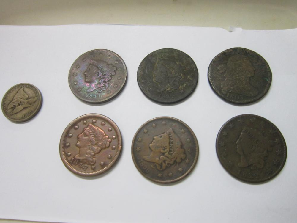 6-Large US 1 Cent Pieces + 1 Flying Eagle 1 Cent