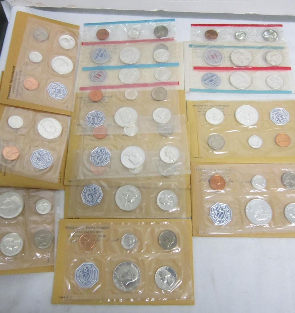 9 Silver Proof Sets with 2 Silver Unc Sets