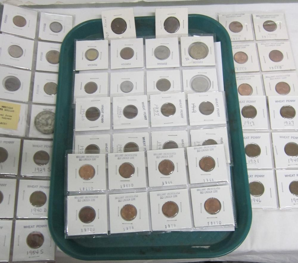 Lot - Pennies & Foreign Coins