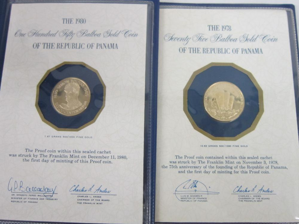 (2) 1st Day of Issue Proof Gold Coins of Panama