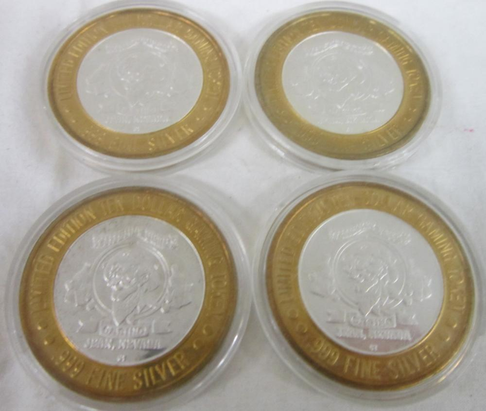 4 Limited Edition Silver $10 Gaming Tokens - Whisk