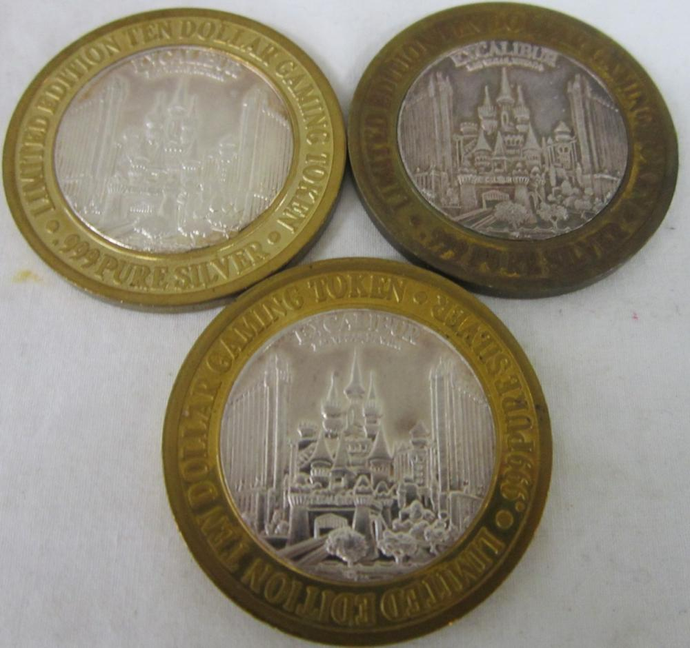 3 Limited Edition Silver $10 Gaming Tokens - Excal