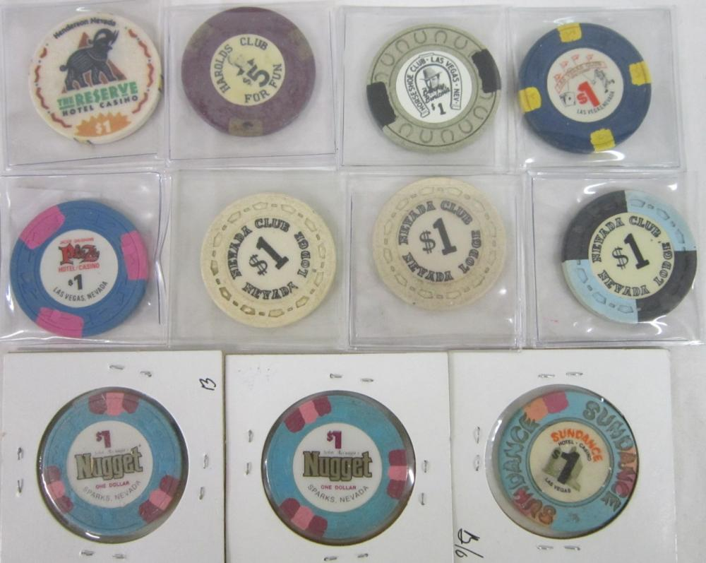 11 Vintage Nevada Casino Gaming Chips - Closed Cas