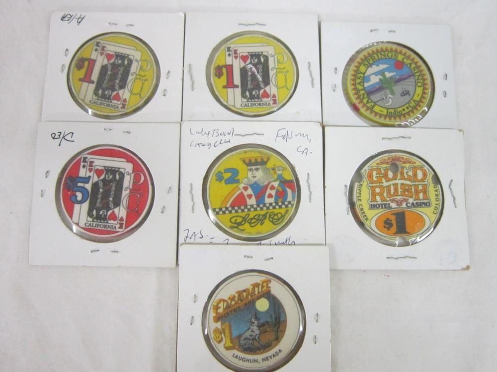 7 Vintage Casino Chips with Cachet Centers