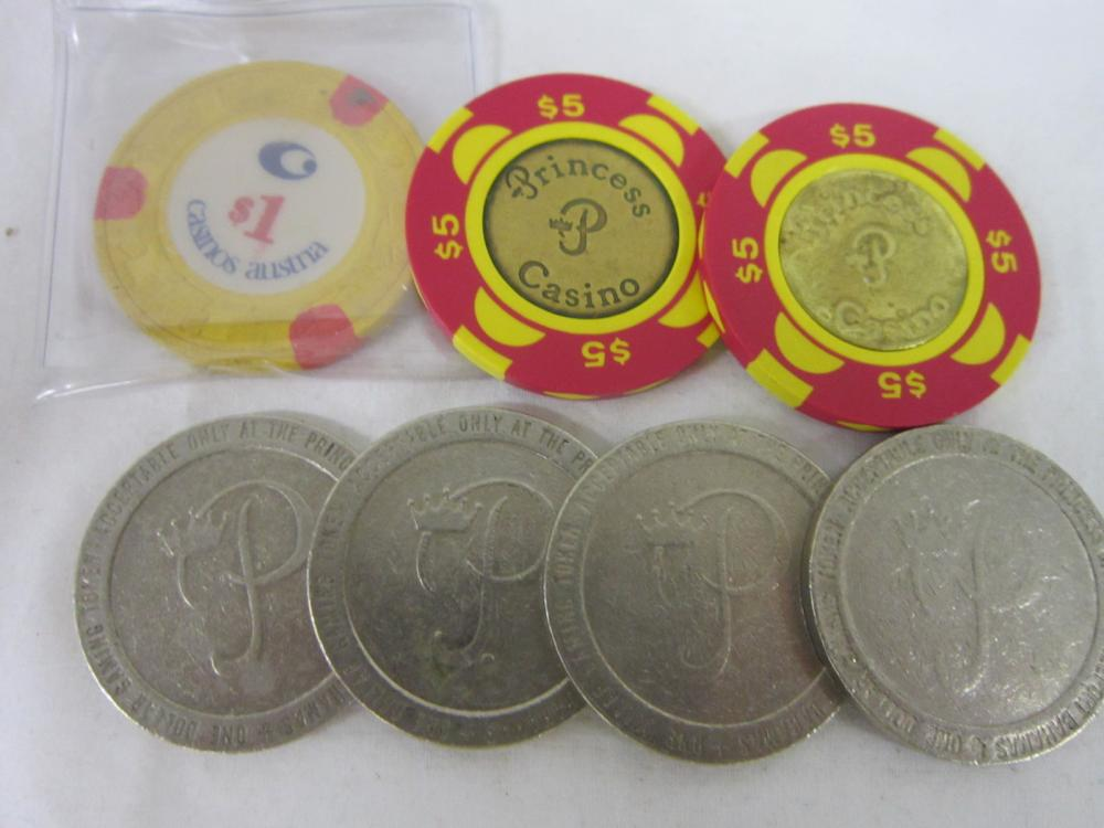 7 Vintage Foreign Casino Chips / Tokens